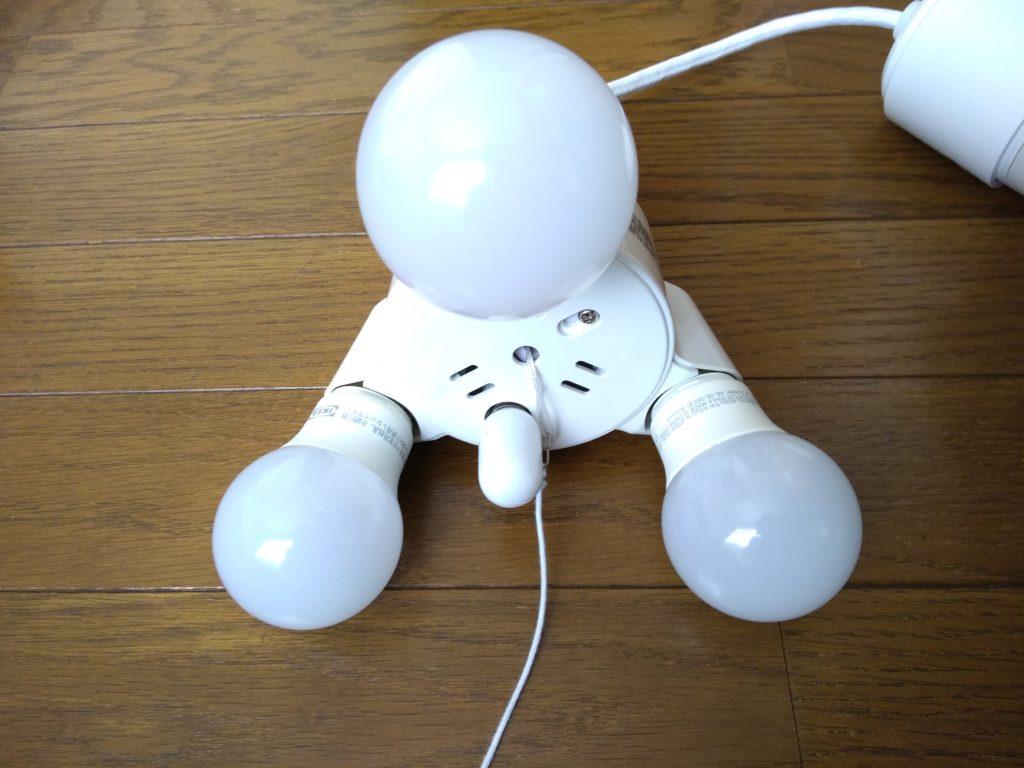 3灯ソケットに電球を取り付けたところ