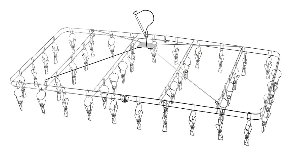 パール金属 サステイン ステンレス製折りたたみ式物干しハンガー 42ピンチ H-8769