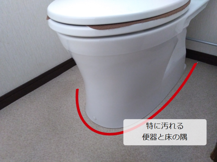 トイレの特に汚れるのは床と便器の隅