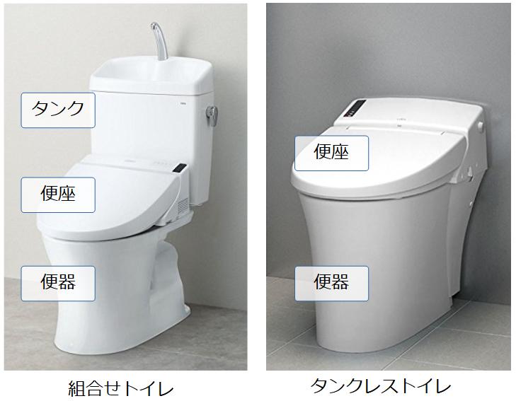組合せトイレとタンクレストイレの構成