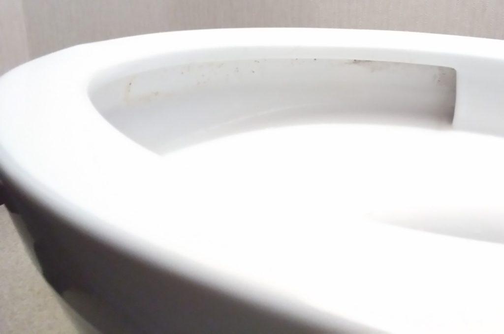TOTOの便器で手前のフチ返りの汚れ