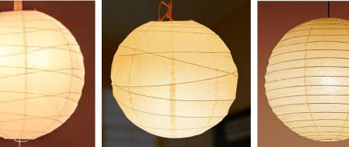 和室向けの球形で和紙のペンダント照明