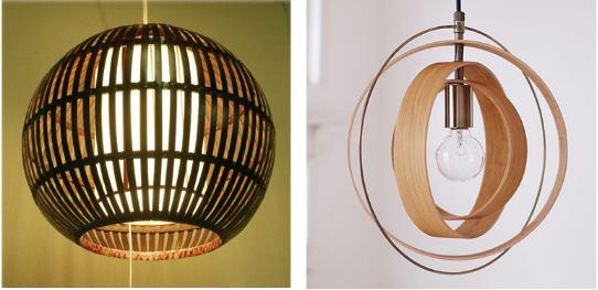 和室向けの球形で木のペンダント照明
