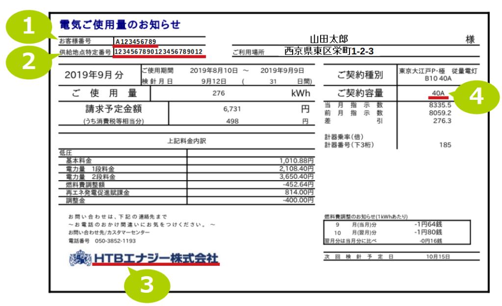 電力会社の請求書
