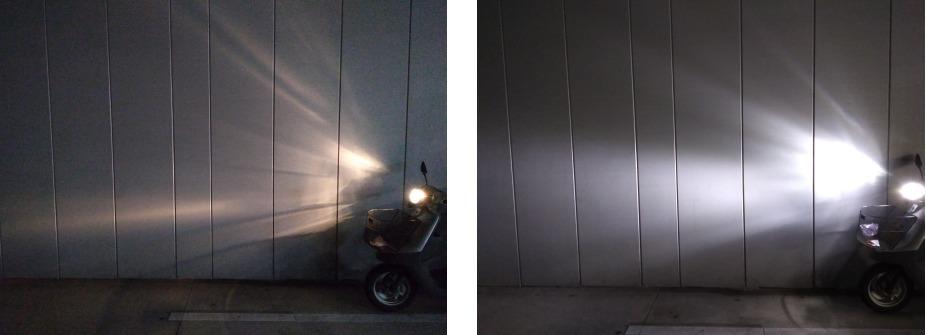 ハロゲンとLEDのヘッドライトの光の違い