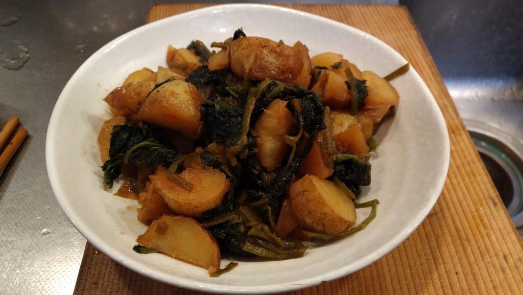 ジャガイモとミツバの揚げ煮