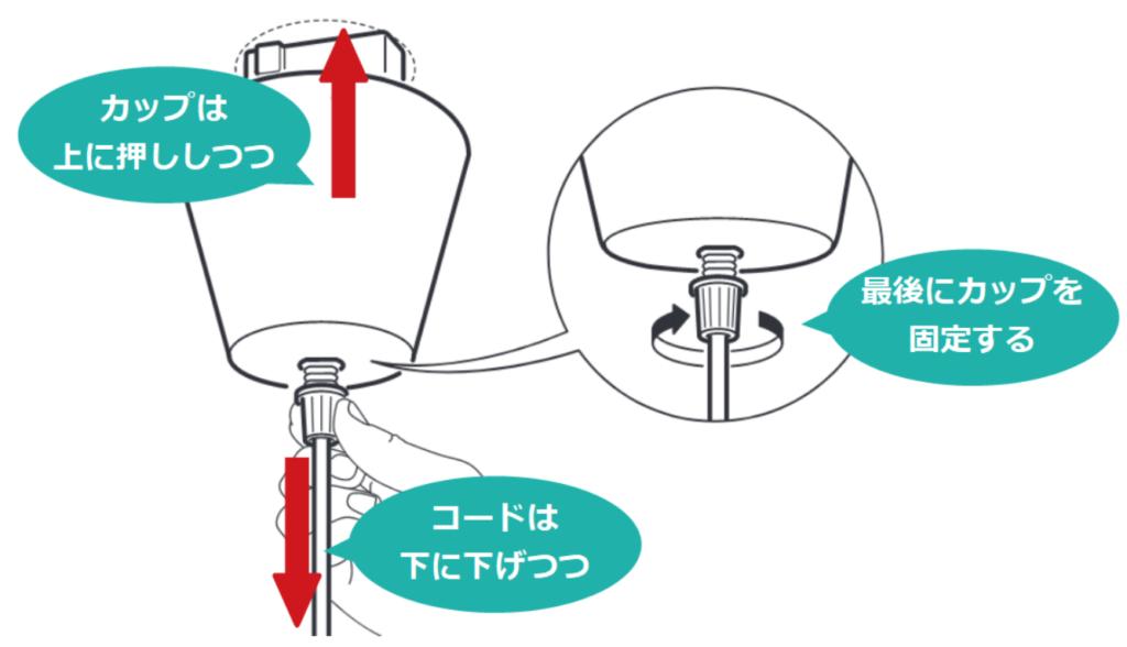イケアの照明のカップが傾かないように止める方法2