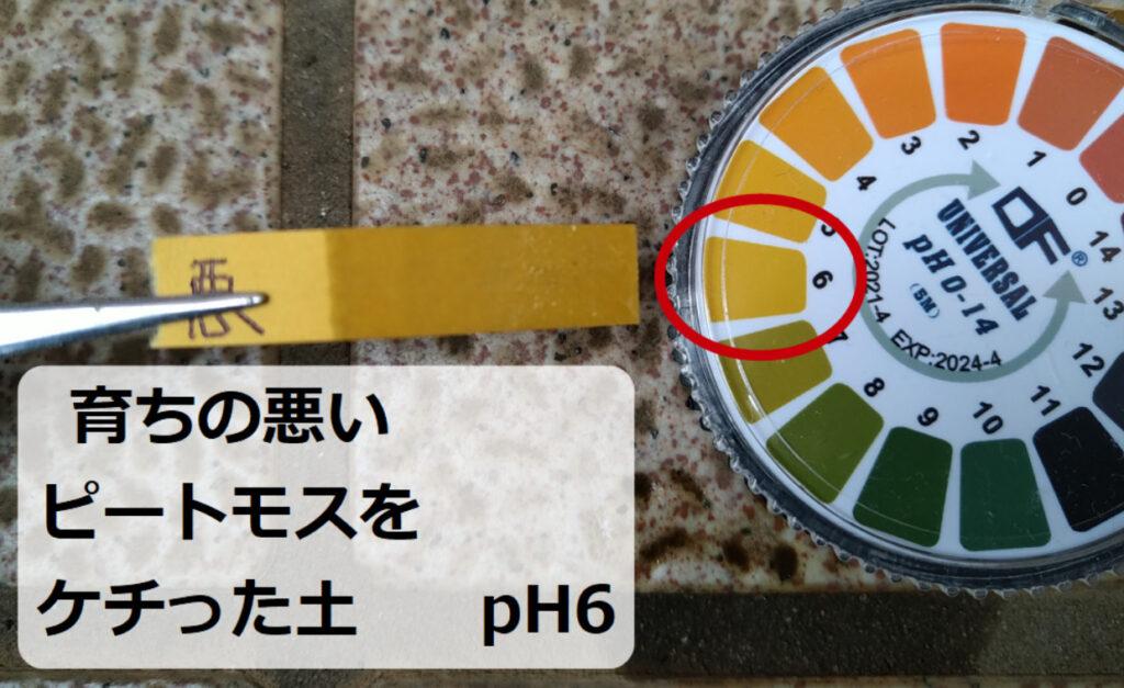 ピートモス半分の土のpH値は6